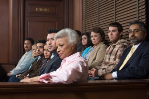 potential jurors waiting to be questioned by the attorneys and the judge