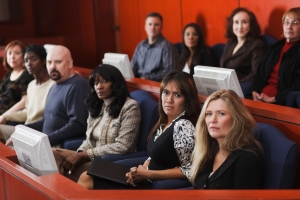 jury viewing demontration in courtroom